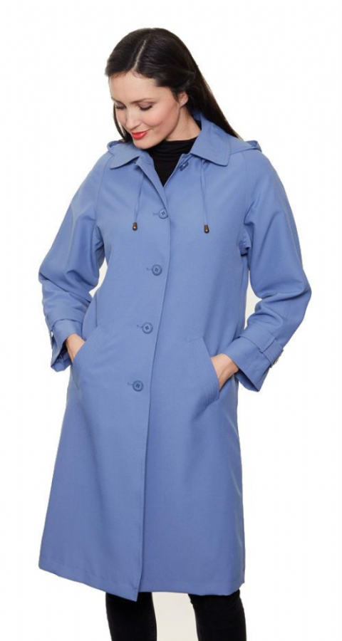 Womens Classic Hooded Rain Blue Coat db1686